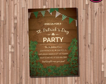 Wood and Clovers St. Patrick's Day Party Invitation (Printable)