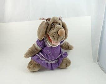 Vintage 80s Ganz Wrinkles Dog Stuffed Puppet, Dog Puppet, Animal Puppet, Ganz Stuffed Animal, Dog Lover Gift, Shar Pei Gifts, Puppy Puppet