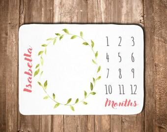 Baby Girl Month Blanket - Monthly Milestone Blanket  - Monthly Photo Prop - Baby Shower Gift - Baby Girl - Pink - Floral- Leaf
