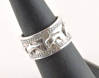 Size 5.5 Sterling Silver Textured Wide Band Dolphin Ring