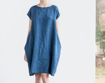 Denim color linen cocoon dress with short or 3/4 sleeves