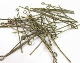 Antique bronze eye pins  50 eye pins findings