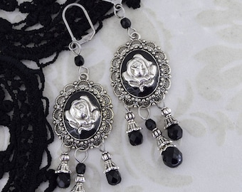 Gothic Delight - Gothic metal earrings - Gothic rose earrings - silver and black jewelry