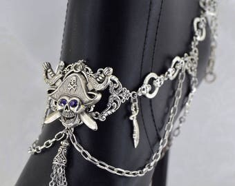Pirate Boot Chain | Pirate's Plunder | Skull jewelry, Purple Pirate, Dangle Boot Jewelry, Boot Chain, Statement Jewelry, Pirate Chain