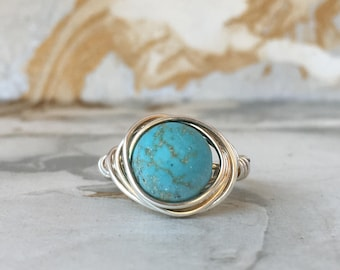 Sterling Silver Wire Wrapped Ring with Turquoise | Gemstone Rings | Boho Rings | Stacking Rings | Statement Rings | Womens Rings