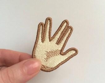Vulcan Salute Emoji patch. Embroidered.Spock, Vulcan Salute.