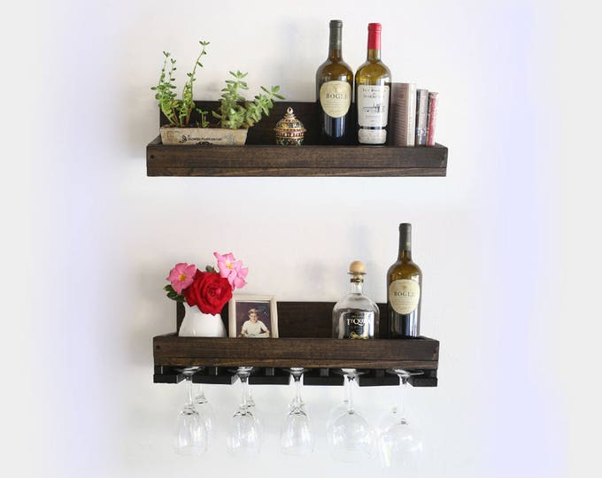 "24"" Rustic Wall Wine Rack & Hanging Stemware Glass Holder Organizer Wood Bar Shelf, Floating Shelf"