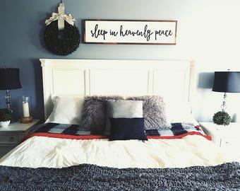 "Sleep in heavenly peace wood sign 12x48"""