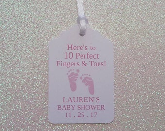 Nail Polish Baby Shower Favor Tags *Baby Shower Gift Tags *PINK Here's to 10 Perfect Fingers & Toes Favor Tags  *PERSONALIZED w/ Ribbon
