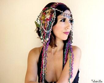 Tribal Fusion Headdress,  Beaded  Headpiece,  Bellydance Hair Clip,  Tribal Headbands,  Belly dance Hair Accessories, Purple  headdress