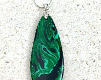 Malachite Necklace, Malachite Gemstone Necklace, Malachite Jewelry, Green Necklace, Malachite Pendant, Boho Necklace, Green Gemstone, Gift