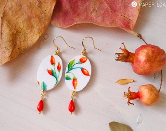 Botanical oval dangle earrings WOLFBERRY, hand painted earrings, lighweight earrings in botanical style, eco friendly dangle, bamboo coral