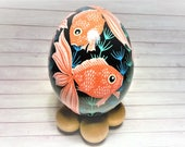Pysanky, Goldfish Ornament, Ukrainian Eggs, Good luck charm, Pysanky ornament, Easter Eggs, Pysanky eggs, Goldfish Pysanky, Money luck charm