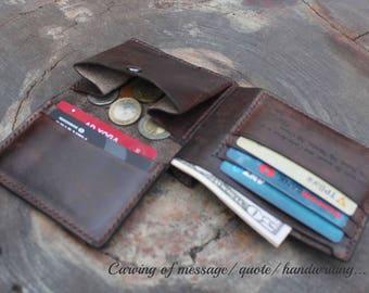 Mens wallet with coin pocket, Mens wallet personalized, Leather wallets for men with coin pocket, Mens wallet bifold, Black wallet/ VD071