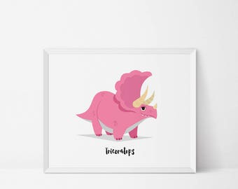 Triceratops, Dinosaur Wall art, Dinosaur Nursery, dinosaur art print, dinosaur print, Dinosaur decor, dinosaur printable, jurassic art print