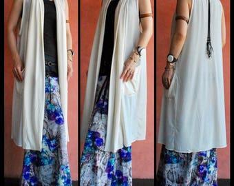 Bohemian,Hippie, Gypsy, Long Drape Vest, Cotton stretch, 2way,Nomad World