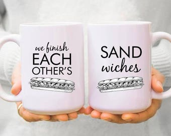 His and Hers Coffee Mugs | We Finish Each Other's Sandwiches | Couples Coffee Mugs | Gift for Her | Gift for Him | Coffee Mugs Never Lie