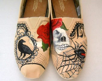 Bride's Love Story Shoes Wedding Flats Bride's Shoes Goth Wedding Shoes Skulls Roses Wedding TOMS Folk Art Painting Custom Wedding Shoes