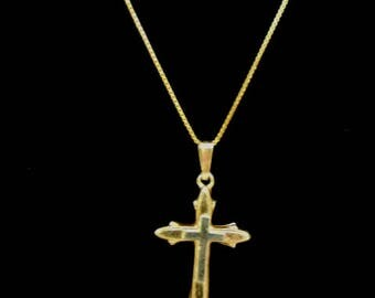 Vintage Estate 14K Yellow Gold Chain Necklace & Religious Crucifix 2.0g E3308