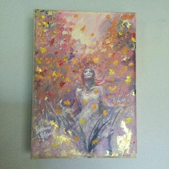 """Serenity Series,  """"Leaf-rain"""", Original Acrylic Gold Leaf Painting 5 by 7 inches wall art Autumn trees woman abstract"""