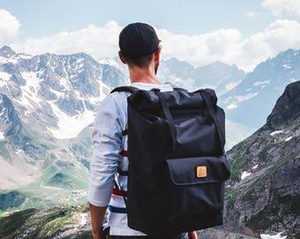 Roll Top Backpack, Laptop backpack, Travel backpack, Rucksack, Mens backpack, Black backpack, Bike backpack, Commuter Backpack