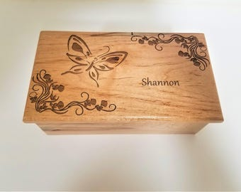 Personalized Butterfly Music Box Choose Your Song,Gift for Her,Butterfly jewelry Gift,Laser Engraved Music Box, Memory Box, Custom Music Box
