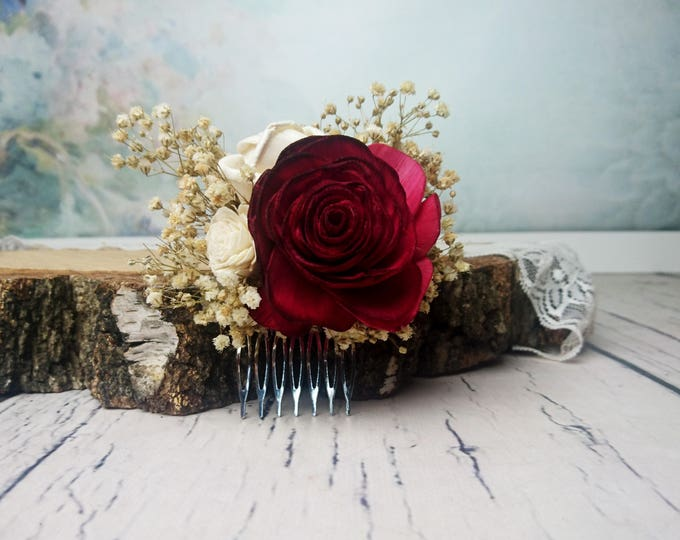 Deep red rose preserved gypsophila hair comb Alternative bride Burgundy rustic woodland Sola Flower maroon hairpiece bridal accessory gothic