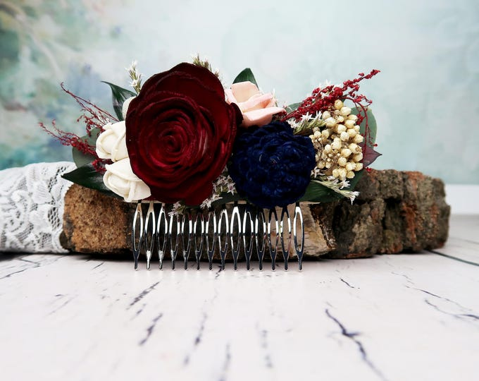 Burgundy rose bridal hair comb blush pink navy blue ivory sola flowers preserved eucalyptus ruscus brunia berry dried flowers wedding flower