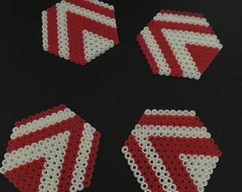 Handmade Coasters- Red & White