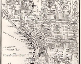 VINTAGE SEATTLE MAP 1936 Collectible Print - Perfect Gift for Wedding, Birthday, Graduation, Housewarming - Over 80 Years Old! (286)