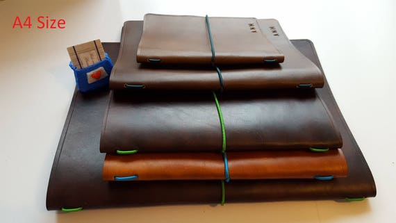 Leather book cover A4 Refillable Journal cover Wine list