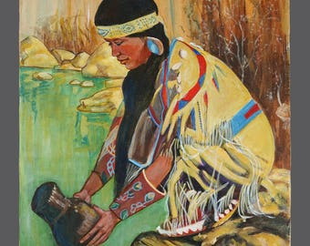 Native American Painting Woman Acrylic On Canvas Vintage Painting American Art 14 x 18
