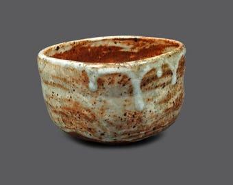 Ceramic Vase Raku Tea Bowl Cup Art Pottery Orange Rust White Gray Square Shaped Art Stoneware Vintage