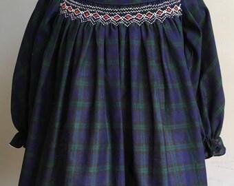Vintage Girl's Dress, Polly Flinders Smocked Dress