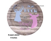 buck or doe gender reveal party plates, deer, hunting baby shower, outdoors theme, woodland, barn wood, hunters, boy or girl, rural, forest
