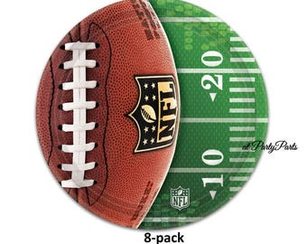 football dessert plates, NFL, sports birthday party decorations, paper cake plates, 7 inches, snacks, team banquet, boys, mens, fall season