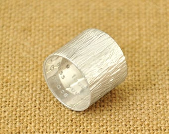 Hammered Wide Ring, Custom Wide Band Ring, Cigar Wide Ring, Sterling Silver Personalized Ring, Wedding Ring, Boyfriend gift, Gift for Him