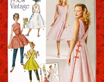 Simplicity Sewing Pattern 8085, Wrap Dress, Top, Sleeveless 1950's Vintage Style Sundress, Size 14 16 18 20 22, Summer Casual Fashion, UNCUT