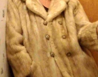 Vintage 1940s Beige Mink Fur Jacket by Tourmaline - Double-Breasted Emba Natural Plale Beige Mink - Size S
