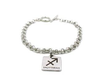 Sagittarius Charm Bracelet, Zodiac Bracelet, Astrology Bracelet, Silver Sagittarius, Silver Chain Bracelet, Zodiac Jewelry, Birthday Gift