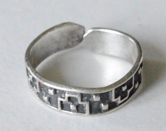 Vintage Sterling Silver Taxco Mexico Modern Design Adjustable Band