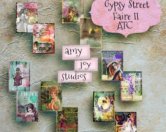 Printable  ATC Cards GYPSY Street Faire  Journal Cards  Pocket Cards  Jewelry Card  Digital Art  ClipArt  BOHO Journal  Collage  Mixed Media