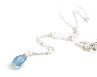 Raw Aquamarine Necklace, Natural Aquamarine Pendant, March Birthstone Jewelry, Tiny Sky Blue Raw Stone Necklace, Raw Crystal Necklace
