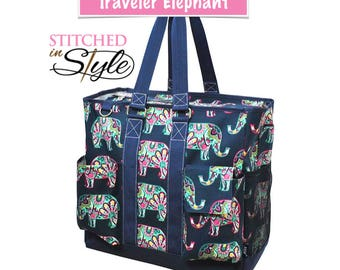 Elephant The Traveler Large Beach Tote Work Tote Travel Tote Bag Gift Custom Embroidery Design Available