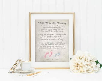Personalized Poem for Mom - Walk With Me Mommy Poem - Gift for Mom - Personalized Mom Gift - Gift from Daughter or Son - Mom Love