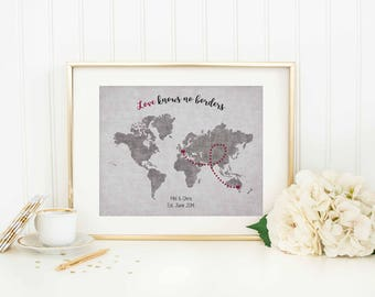 Personalized Long Distance World Map - Long Distance Gift - Long Distance Relationship - Distance Love - Distance Family - Distance Map