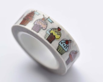 Colorful Muffin Cupcakes Bakery Washi Tape 15mm Wide x 10M Roll No.12573
