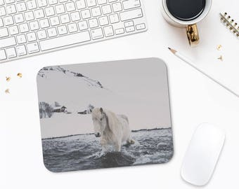 White Horse Mousepad, Animal Lover Gift, Horse Lover Gift, Iceland Horse Art, Unique Mouse Pad, Mouse Pad Nature, Office Desk Gifts