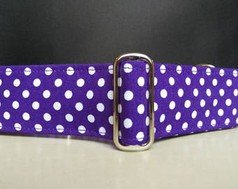 "Martingale Collar - Whippet, Greyhound, Italian Greyhound - 1"", 1.5"" and 2"" width - Purple Polka Dot"