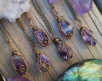 Raw Amethyst necklace, amethyst necklace, crystal necklace, purple stone, wire wrapped, crystal , february birthstone